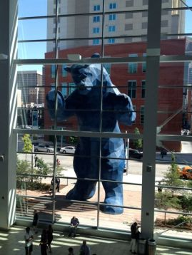 The Blue Bear welcomed me into the Convention Center..