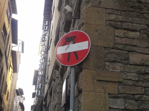 Florence, local graffiti on signage