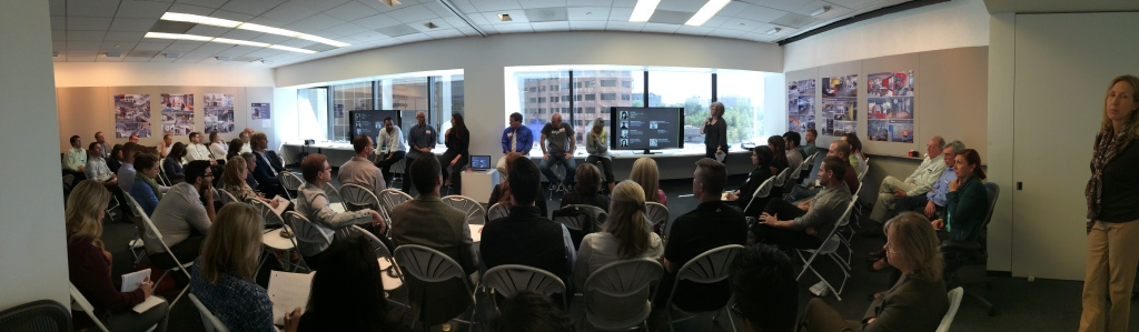"Gensler Denver's panel discussion regarding ""the Creative Office,"" featuring Alden Globe, Miguel Buenrostro, Ken Pinnock,  Michelle Liebling, Robert Reich, and Sandy Vanderstoep, moderated by Joy Spatz"