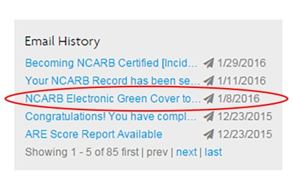 NCARB Email History